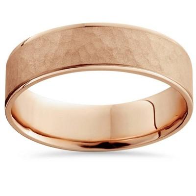 Pompeii3 14k Rose Gold Hammered Comfort Fit Wedding Band