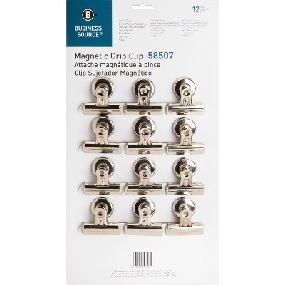 """Business Source Magnetic Clips Display Pack Sz 2 2-1/4""""W 1/2""""Cap 12/BX SR 58507"""