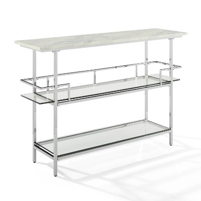 Aimee Bar with Paper Marble Top Chrome - Crosley