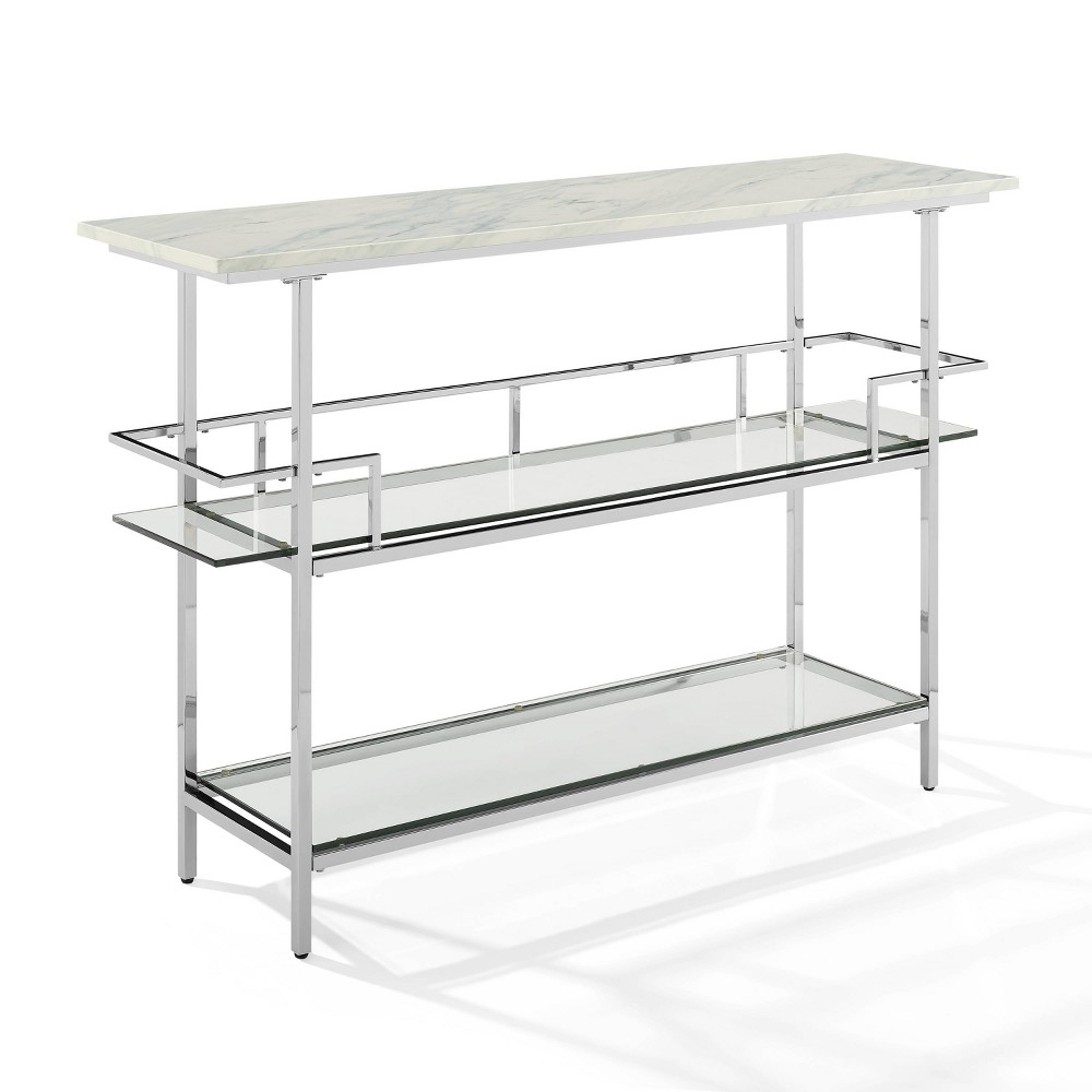 Aimee Bar with Paper Marble Top Chrome (Grey) - Crosley