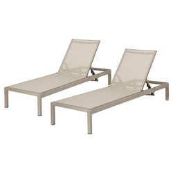 Cape Coral Set of 2 Aluminum & Mesh Chaise Lounge - Christopher Knight Home