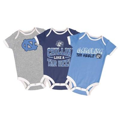 NCAA North Carolina Tar Heels Baby Boys' Short Sleeve 3pk Bodysuit Set
