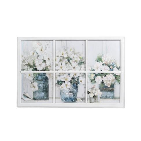 "24"" x 36"" Mason Jar Scne Windowpane Framed Wall Art Blue/White - New View - image 1 of 3"
