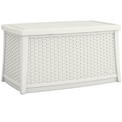 Suncast Elements 30 Gallon Outdoor Deck Patio Resin Wicker Coffee Table, White