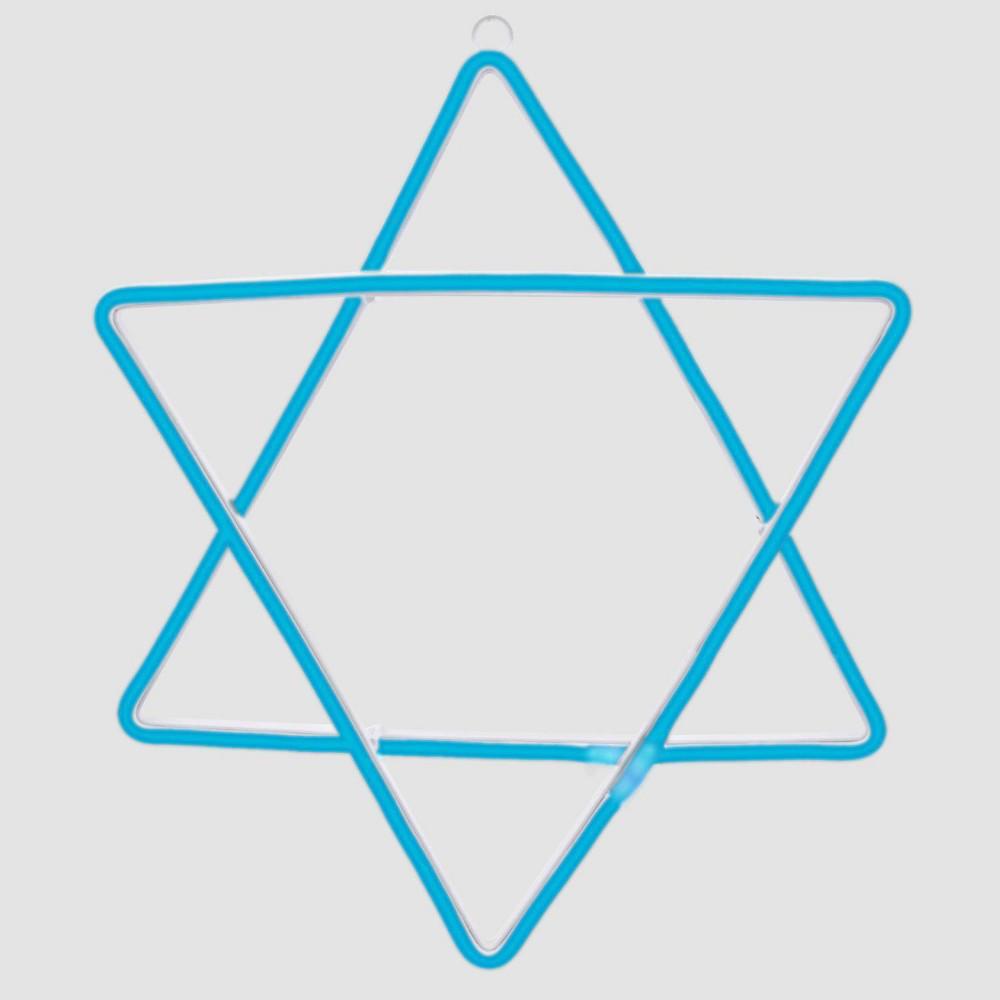 Image of Hanukkah Star of David LED Novelty Silhouette Lights Blue Neon