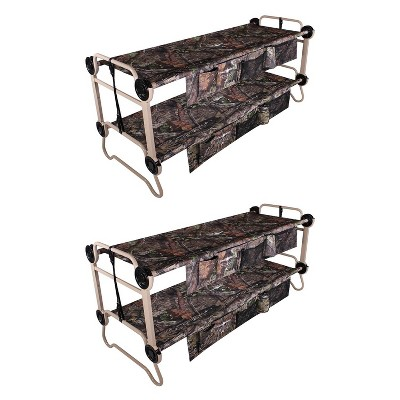 Disc O Bed Large Cam-O-Bunk 82 x 36 Inch Portable Folding Bunked Double Camping Cot Bed with 2 Organizers and 2 Carry Bags, Mossy Oak