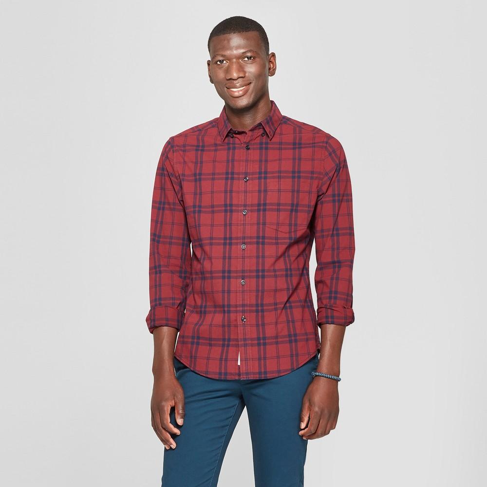 Men's Slim Fit Long Sleeve Northrop Poplin Button-Down Shirt - Goodfellow & Co Berry Cobbler 2XL