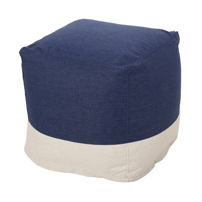Tattnall Contemporary Two-Tone Fabric Cube Pouf - Christopher Knight Home