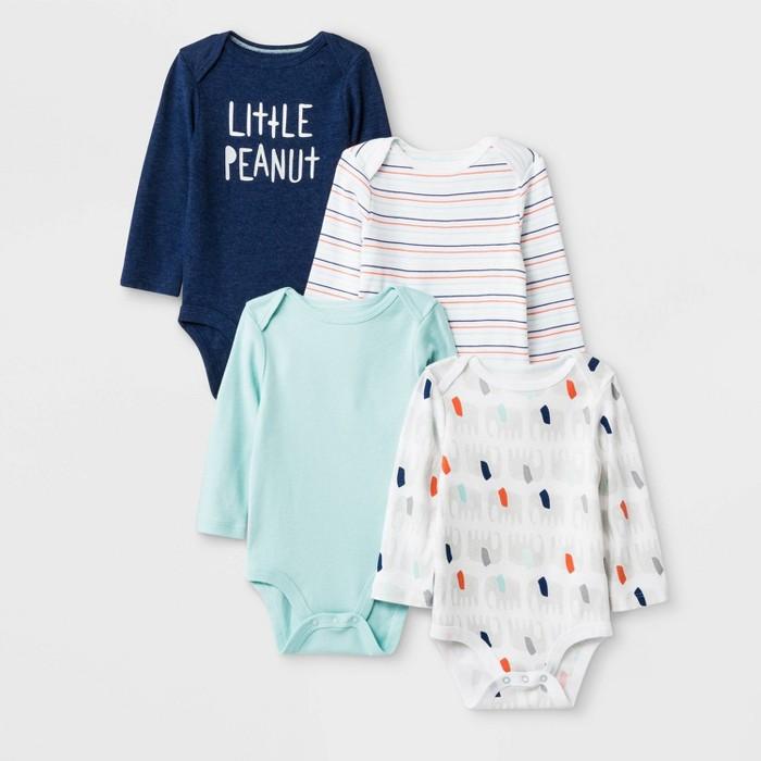 Baby 4pk Little Peanut Long Sleeve Bodysuits - Cloud Island™ - image 1 of 1