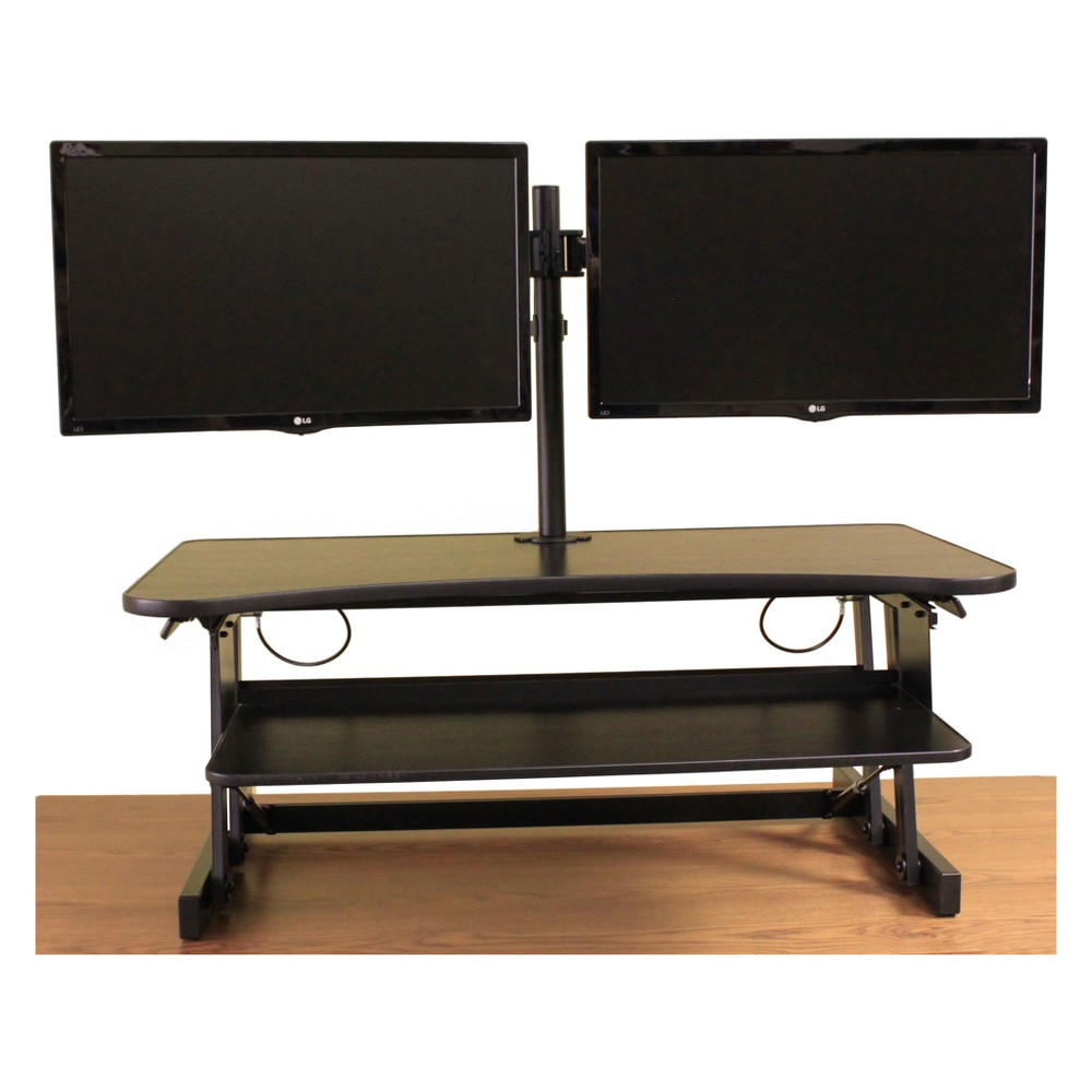Deluxe Height Adjustable Computer Riser with Monitor Mount