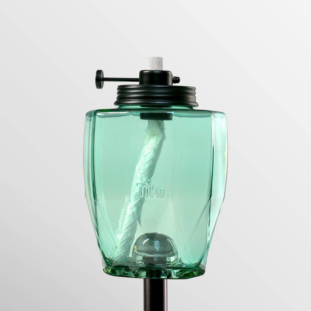 "Image of ""Tiki Brand 64"""" Adjustable Flame Glass Geo Sea Glass Torch Teal, Blue"""