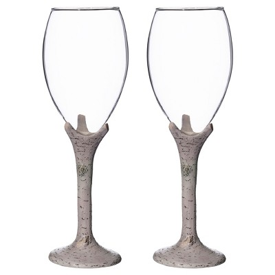 2ct Clear, White Washed Birch Wine Glass Set