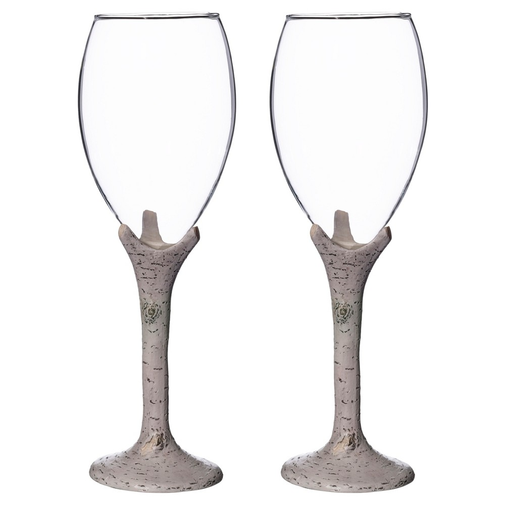 Image of 2ct Clear, White Washed Birch Wine Glass Set