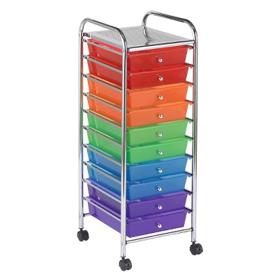 ECR4Kids 10-Drawer Plastic Mobile Organizer, Rolling Cart for Storage - Assorted