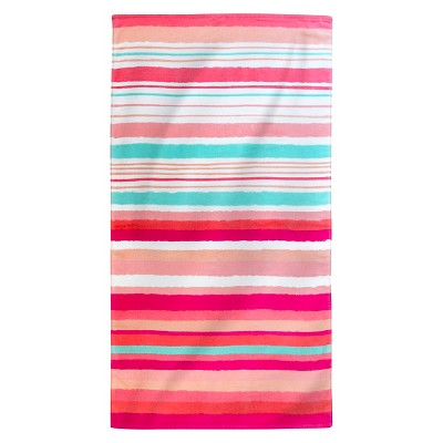 Printed Hand Drawn Stripes Beach Towel Coral