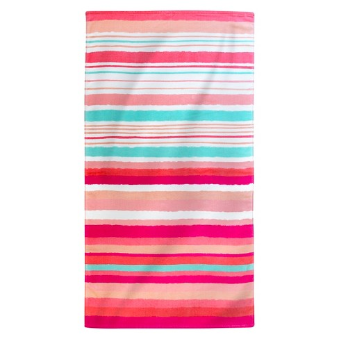 Printed Hand Drawn Stripes Beach Towel C