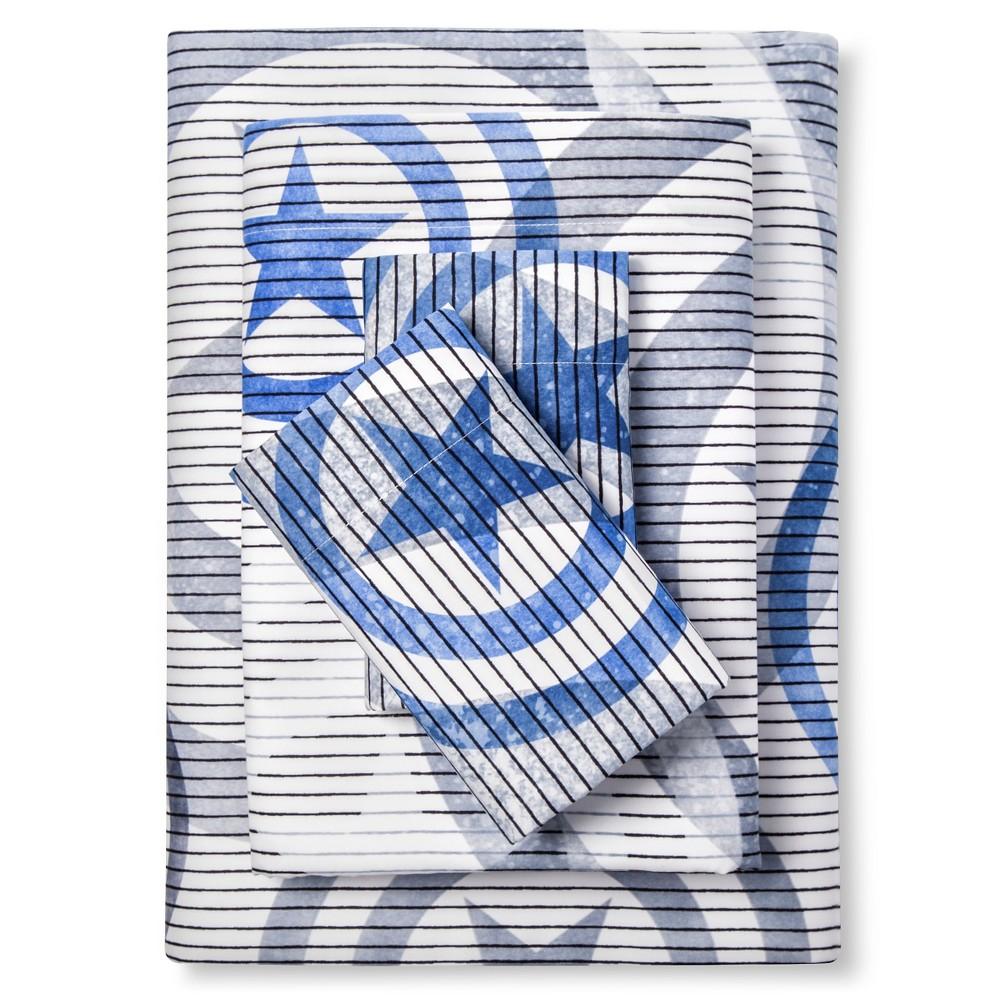 Captain America Shield Sheet Set Twin Extra Long - Blue&Grey - 3 Piece - Marvel, Blue & Gray