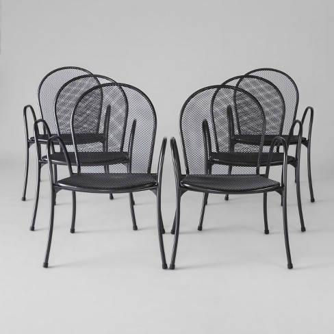 Awesome Carmack 6Pk Mesh Patio Dining Chairs Black Threshold Download Free Architecture Designs Grimeyleaguecom