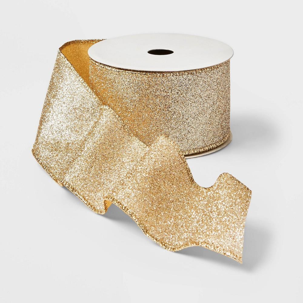 "Image of ""2.5"""" Glitter Ribbon Gold 21ft - Wondershop"""