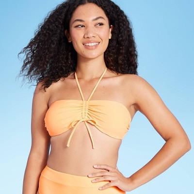 Juniors' Cinch-Front Bandeau Bikini Top - Xhilaration™ Coral