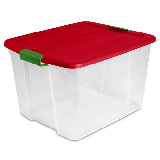 Sterilite 66qt Latch Tote Clear With Red Lid And Green Latch