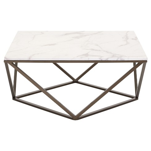 Modern Faux Marble 36 Coffee Table Antique Brass Zm Home Target