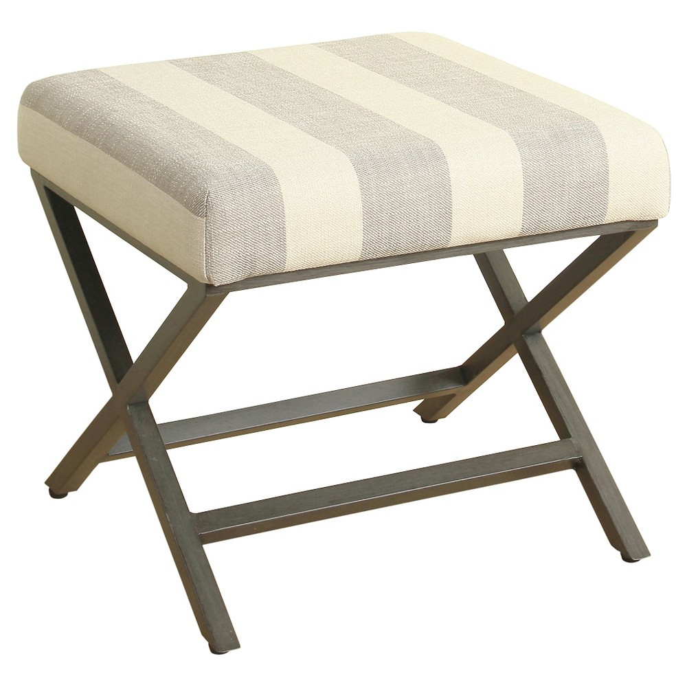 Image of Gray & Cream Striped Fabric Ottoman with Gray Metal Base - HomePop