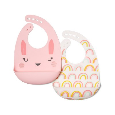 Silicone Bib with Decal - Cloud Island™ Rabbit/Rainbow