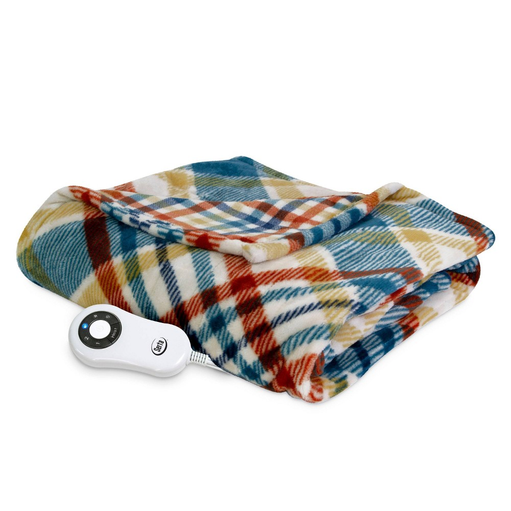 "Image of ""50"""" x 60"""" Silky Plush Electric Throw Blanket Plaid - Serta"""