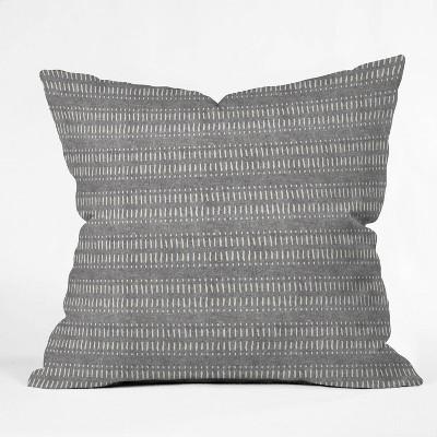 "16""x16"" Little Arrrow Design Co Dash Dot Stipes Stone Throw Pillow Gray - Deny Designs"