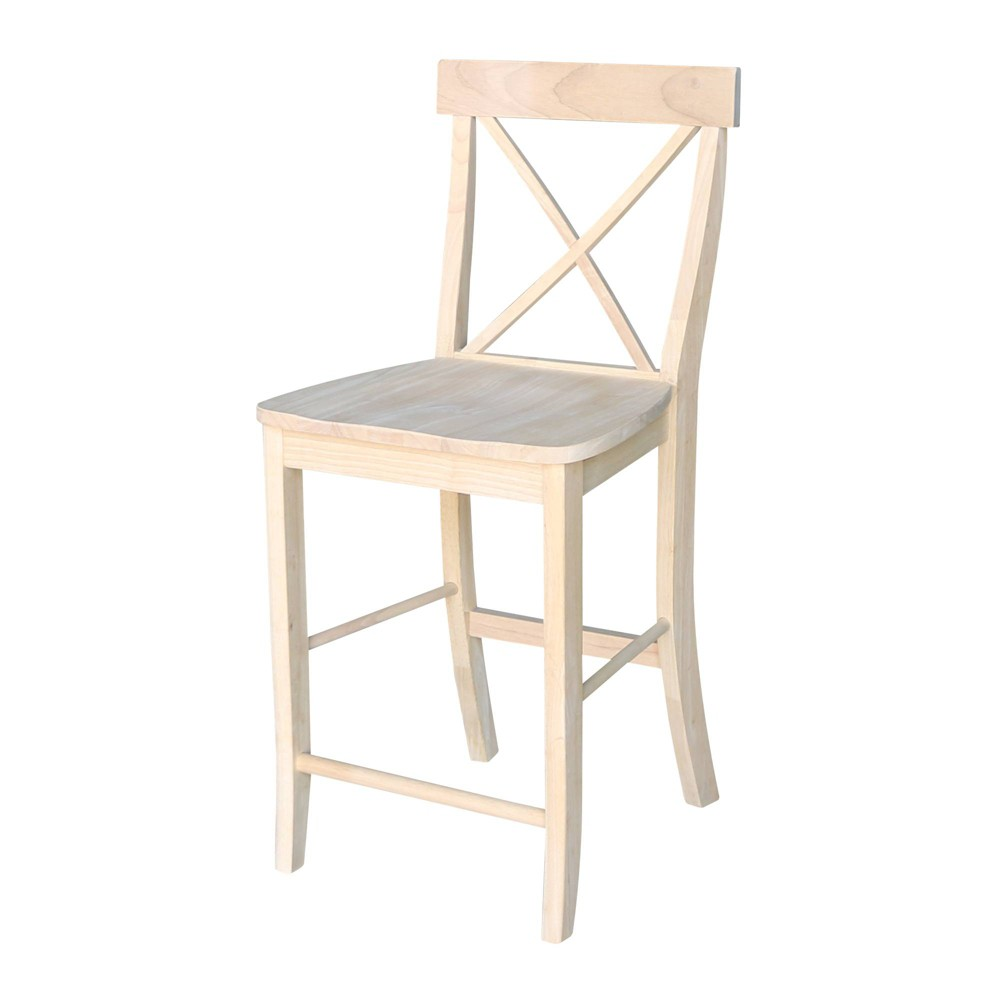 """Image of """"24.02"""""""" X Back Counterheight Stool Unfinished - International Concepts, Size: 24 inch, Brown"""""""