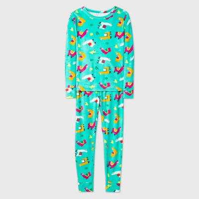 Girls' 2pc Snuggly Soft Tight Fit Pajama Set - Cat & Jack™ Green 10