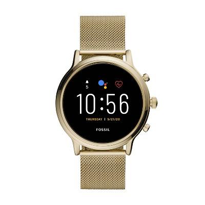 Fossil Gen 5 Smartwatch Julianna HR 44mm - Gold-Tone Stainless Steel Mesh