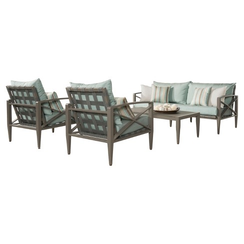 Knoxville 4pc Metal Patio Conversation Set  - Taupe/Bliss Blue - RST Brands - image 1 of 9