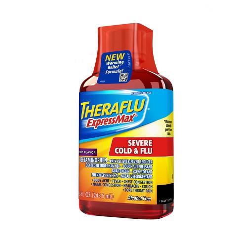 Theraflu Expressmax Severe Cold Flu Warming Relief Syrup Berry 8 3 Fl Oz