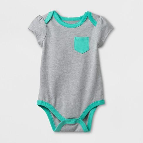 Baby Girls' Short Sleeve Bodysuit - Cat & Jack™ Heather Gray 12M - image 1 of 1