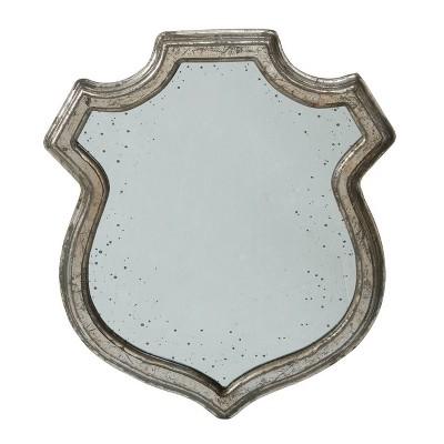 """13""""x 13"""" Empire Crest Small Mirror Antique Silver - A&B Home"""