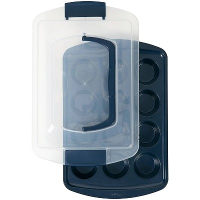 Wilton 12 Cup Diamond-Infused Non-Stick Muffin and Cupcake Pan Navy Blue