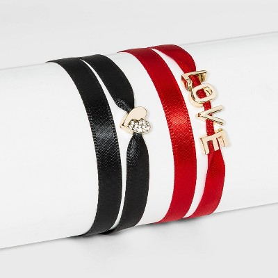 SUGARFIX by BaubleBar Charm Ribbon Bracelet Set - Black/Red