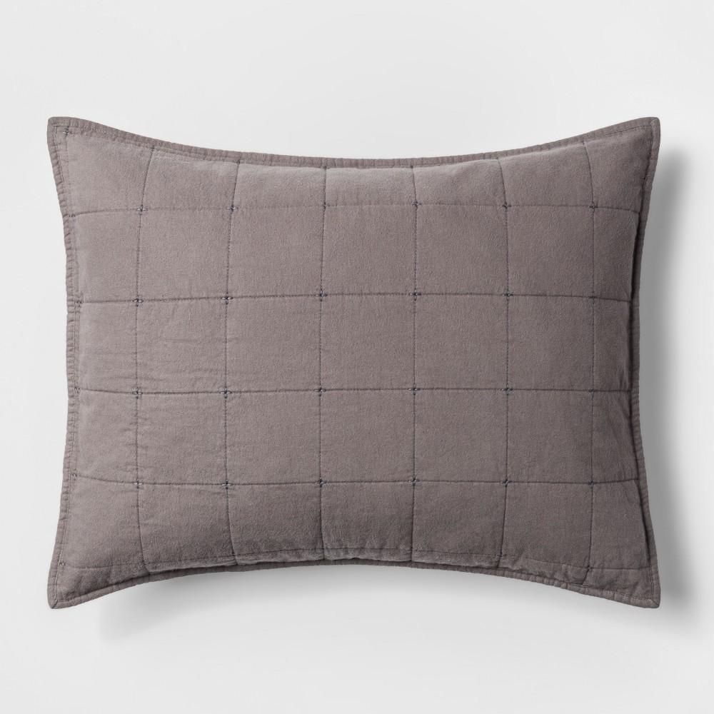 King Box Stitch Flannel Sham Gray - Threshold