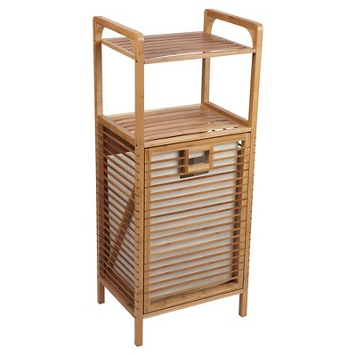 Household Essentials® Laundry Hamper With Storage Shelves   Bamboo