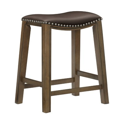 Homelegance 24-Inch Counter Height Wooden Bar Stool with Solid Wood Legs and Faux Leather Saddle Seat Kitchen Barstool Dinning Chair, Brown
