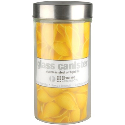 Home Basics Large 54 oz. Round Glass Canister with Air-Tight Stainless Steel Twist Top Lid, Clear