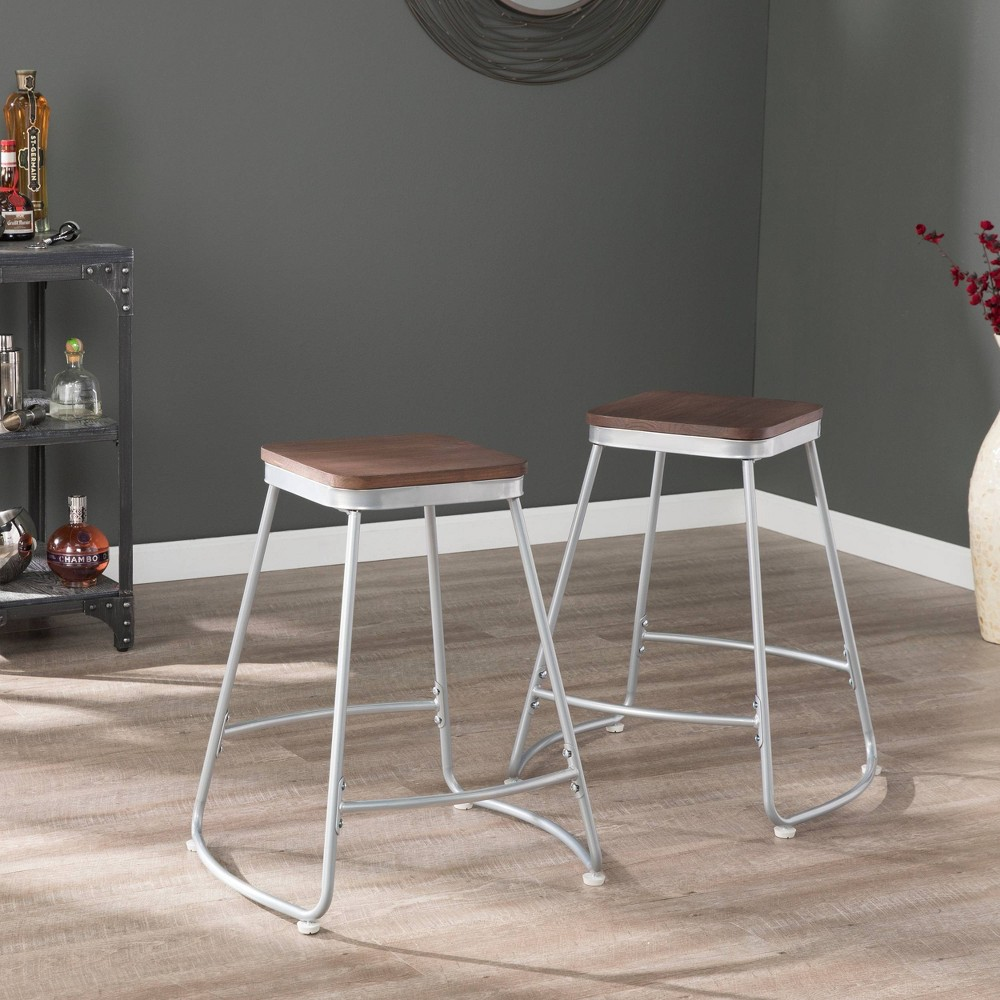 Image of 2pc Railac Counter Stools Silver - Aiden Lane