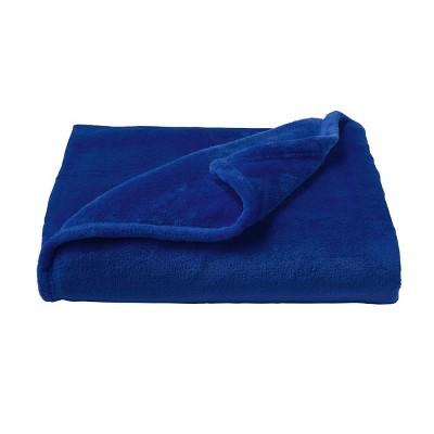 Oversized Microfiber Velvet Solid Polyester Throw Blanket Dark Blue - Yorkshire Home