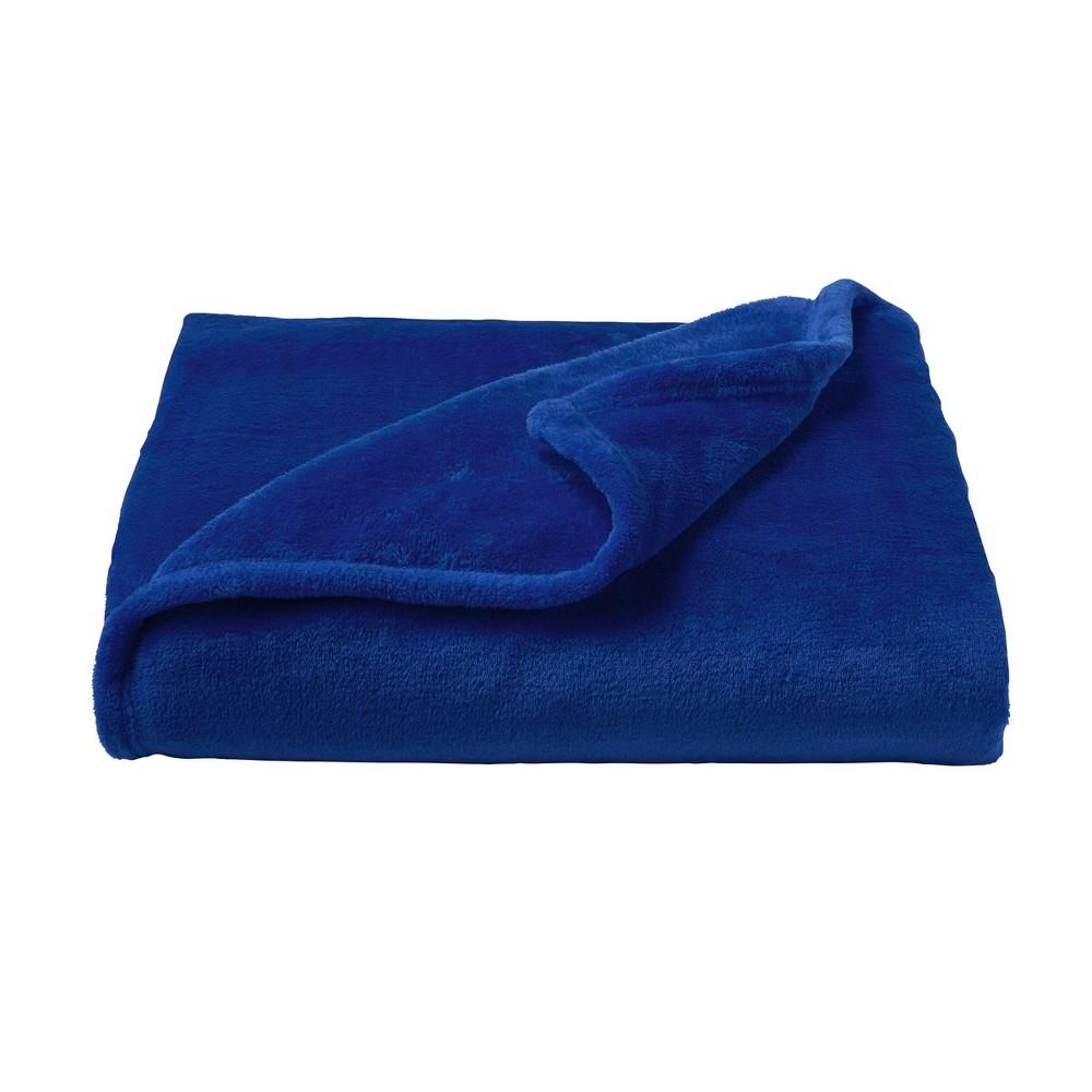 Oversized Microfiber Velvet Solid Polyester Throw Blanket Dark Blue Yorkshire Home
