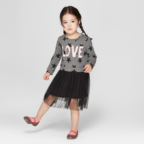 Grayson Mini Toddler Girls' Sweatshirt Tulle Dress - Gray - image 1 of 3