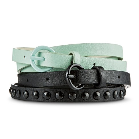 Women's Black Studded and Solid Mint Belt Set - S - image 1 of 1