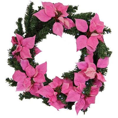 "LB International 22"" Prelit LED Pink Artificial Poinsettia Christmas Wreath - Clear Lights"