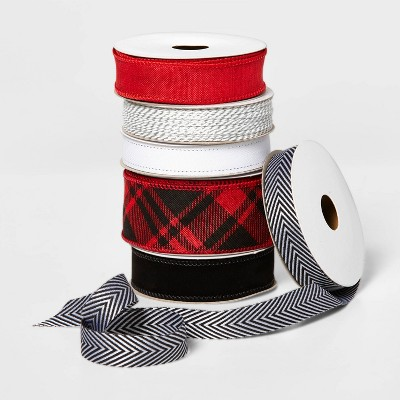 Fabric Gift Ribbon 6 End x 150' Red/White/Black - Wondershop™
